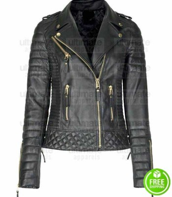 WOMEN'S LAMBSKIN SLIM-FIT QUILTED GOLDEN ZIPPER BLACK LEATHER JACKET