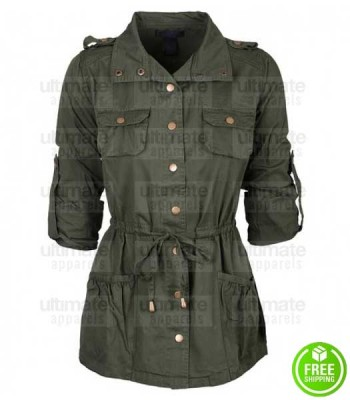 WOMEN'S BELTED GREEN MILITARY COTTON COAT