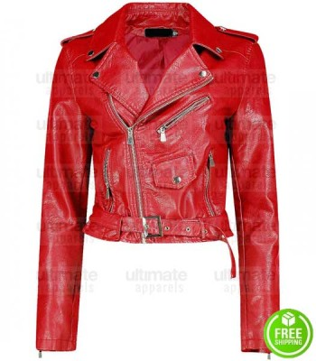 CROP LOOK BIKER LEATHER  JACKET