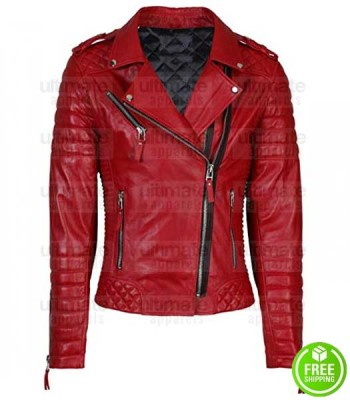 WOMEN'S RED LAMBSKIN LEATHER MOTO JACKET