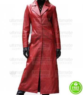 WOMEN'S RED LEATHER TRENCH COAT