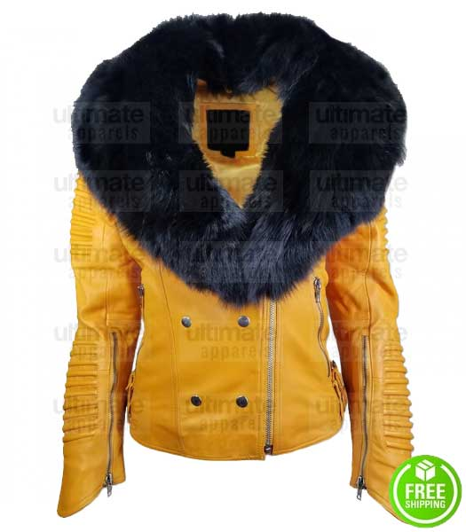 WOMEN'S YELLOW LEATHER JACKET WITH FUR COLLAR