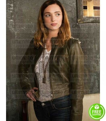 ZOO KRISTEN CONNOLLY (JAMIE CAMPBELL) GREEN LEATHER JACKET