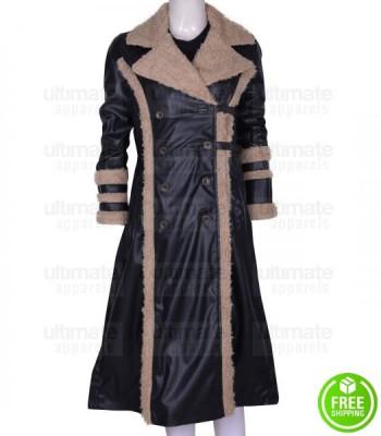 xXx ASIA ARGENTO (YELENA) FUR BLACK LEATHER COAT