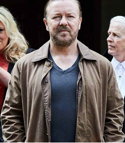 AFTER LIFE RICKY GERVAIS (TOM JOHNSON) BROWN JACKET