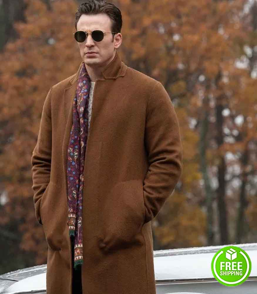 KNIVES OUT CHRIS EVANS (RANSOM DRYSDALE) BROWN WOOL COAT