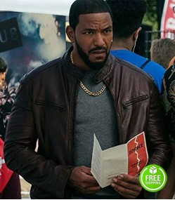 THE BOYS LAZ ALONSO (MOTHER'S MILK) BROWN LEATHER JACKET