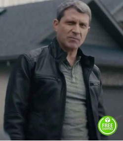 NOBODY 2021 PAUL ESSIEMBRE (JIM THE NEIGHBOR) BLACK LEATHER JACKET