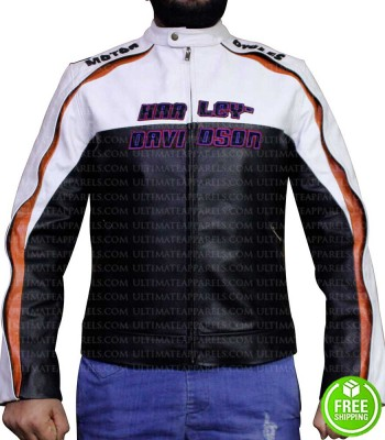 BLACK AND WHITE MOTORCYCLE LEATHER JACKET