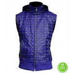 JUSTIN BIEBER STUDDED BLUE VEST WITH HOODIE