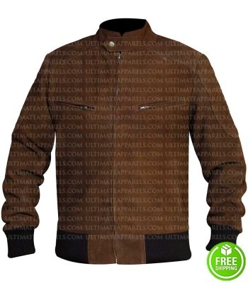 MEN'S SLIM FIT BROWN BOMBER JACKET