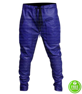 JUSTIN BIEBER BLUE LEATHER TROUSER