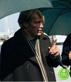 ANOTHER ROUND MADS MIKKELSEN (MARTIN) BLACK TRENCH COAT