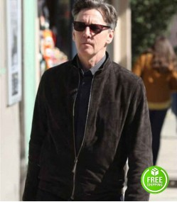 GOOD GIRLS ANDREW MCCARTHY (MR. FITZPATRICK) BLACK SUEDE LEATHER JACKET