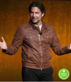 A STAR IS BORN BRADLEY COOPER (JACKSON MAINE) BROWN LEATHER JACKET