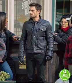 THE FALCON AND THE WINTER SOLDIER SEBASTIAN STAN (BUCKY BARNES) BLACK LEATHER JACKET