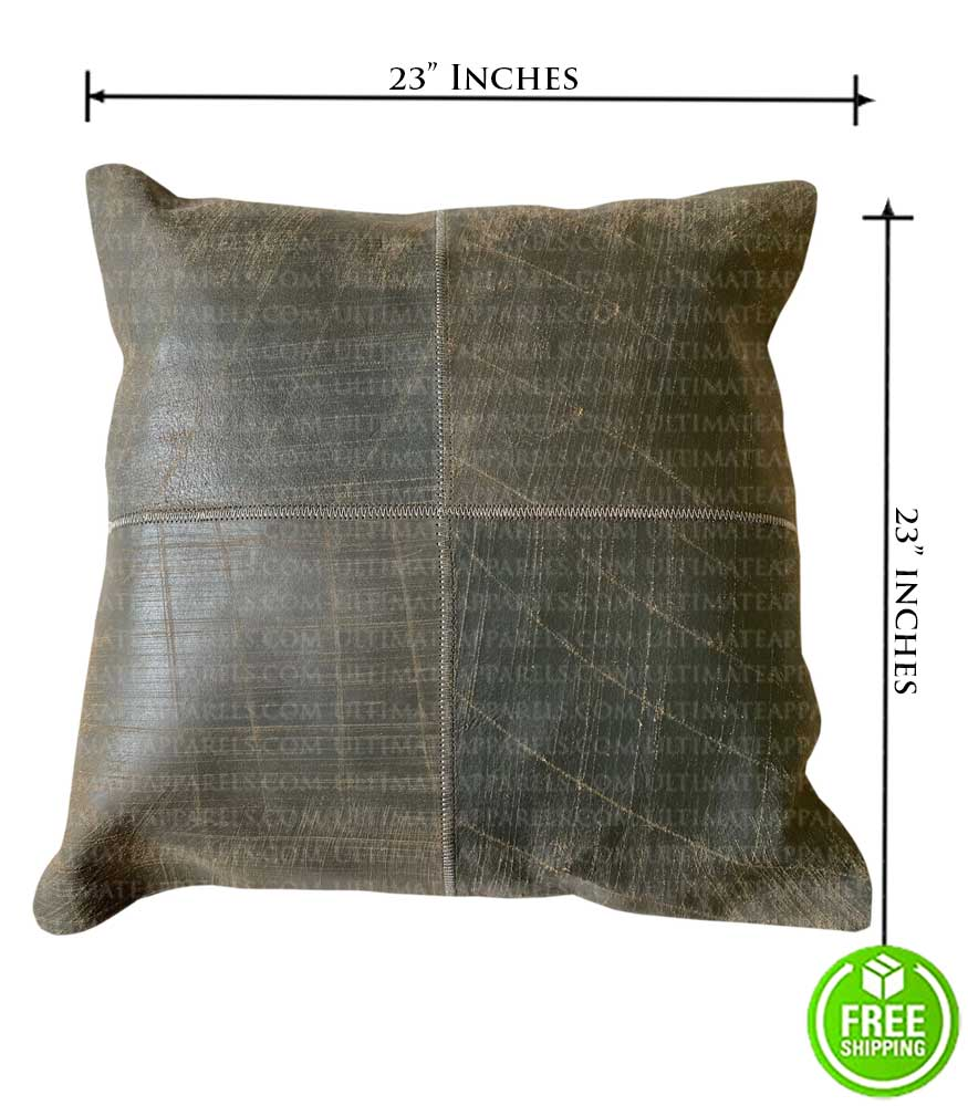 ANTIQUE BROWN DISTRESSED LEATHER THROW PILLOW