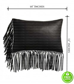 BLACK LEATHER PILLOW WITH FRINGE