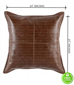 BROWN DISTRESSED LEATHER THROW PILLOW