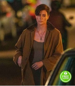 THE OLD GUARD CHARLIZE THERON (ANDY) BROWN COTTON COAT