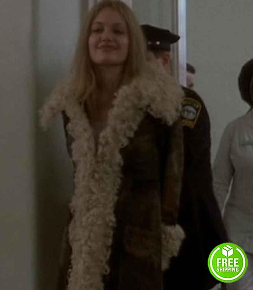 GIRL, INTERRUPTED ANGELINA JOLIE (LISA) BROWN SUEDE LEATHER COAT