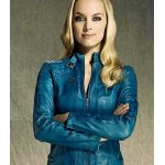 LOST GIRL RACHEL SKARSTEN BLUE LEATHER JACKET