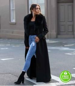 ROZALIA RUSSIAN FUR COLLAR BLACK TRENCH COAT