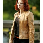 THE AVENGERS SCARLETT JOHANSSON BROWN JACKET