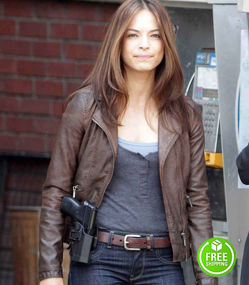 BEAUTY AND THE BEAST KRISTIN KREUK (CATHERINE CHANDLER) BROWN LEATHER JACKET