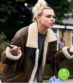 I HATE SUZIE BILLIE PIPER (SUZIE PICKLES) BROWN SHEARLING LEATHER JACKET