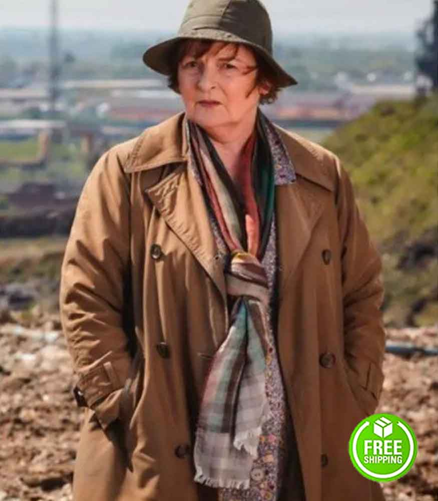 VERA BRENDA BLETHYN (DCI VERA STANHOPE) DOUBLE-BREASTED BROWN COTTON COAT