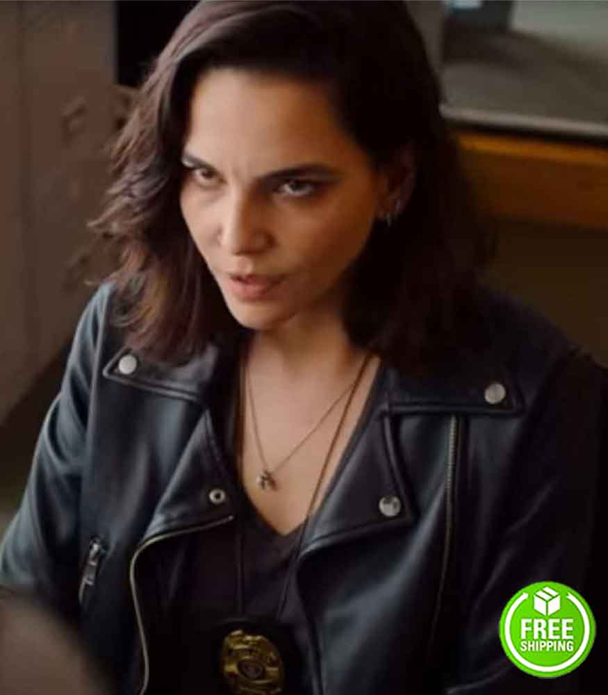 GOOD MORNING VERONICA TAINA MULLER (VERONICA TORRES) BLACK LEATHER JACKET