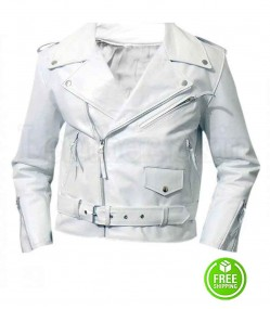Brando White Rider Leather Jacket