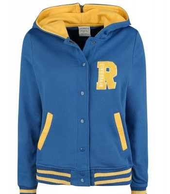 Riverdale R Logo Cheer Girls Blue Bomber Cotton Hoodie Varsity Jacket