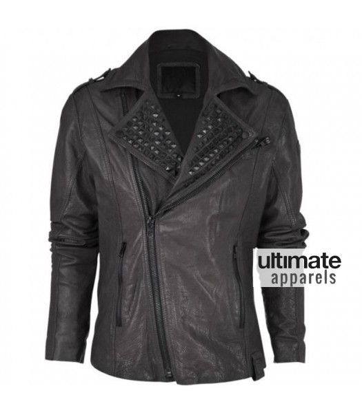 Asymmetrical Style Black Rock and Roll Studded Men's Leather Jacket