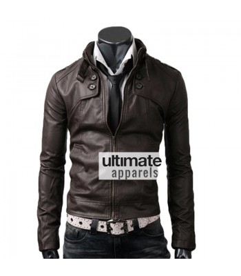 Button Pocket Dark Brown Leather Jacket