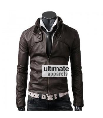 Button Pocket Dark Brown Leather Jacket