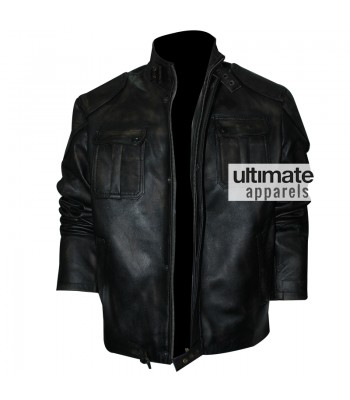 Cafe Racer Men's Black Distressed Motorcycle Jacket