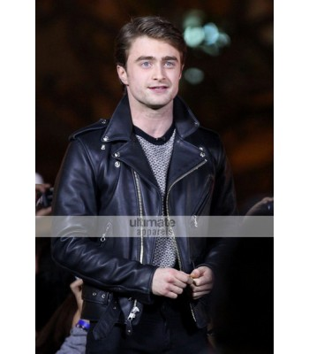 Daniel Radcliffe Black Biker Style Leather Jacket