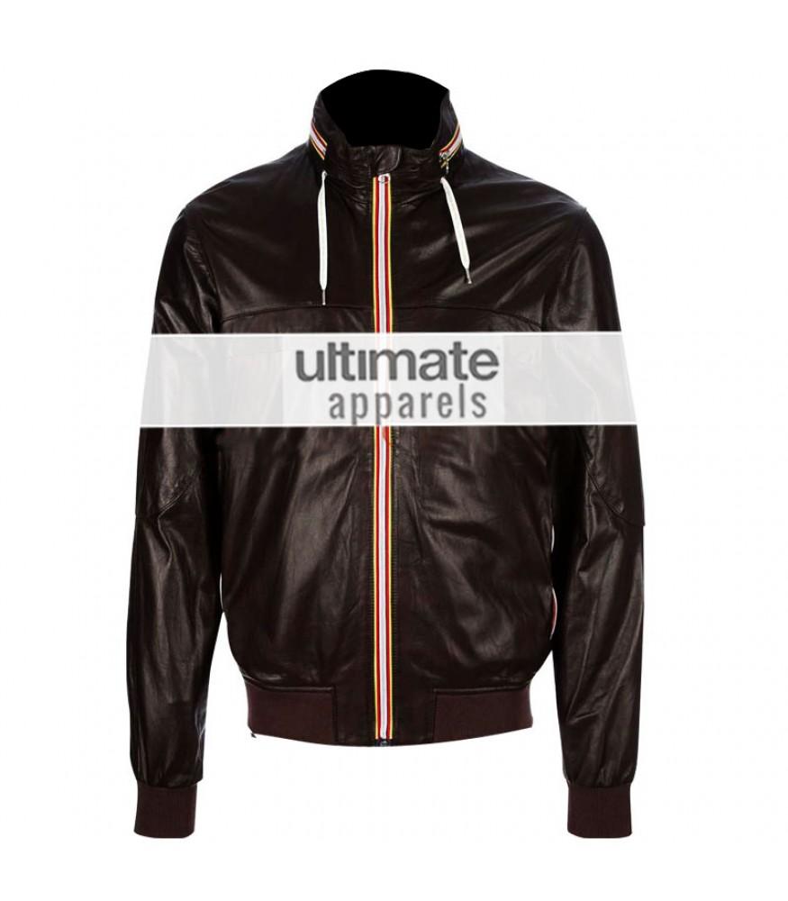 David Backham Brown Bomber Style Leather Jacket