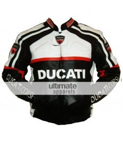 Ducati Corse White and Black Biker Leather Jacket