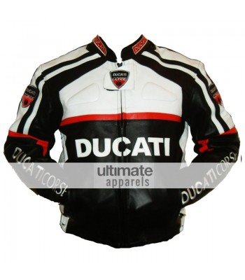 Ducati Corse White and Black Biker Leather Jacket