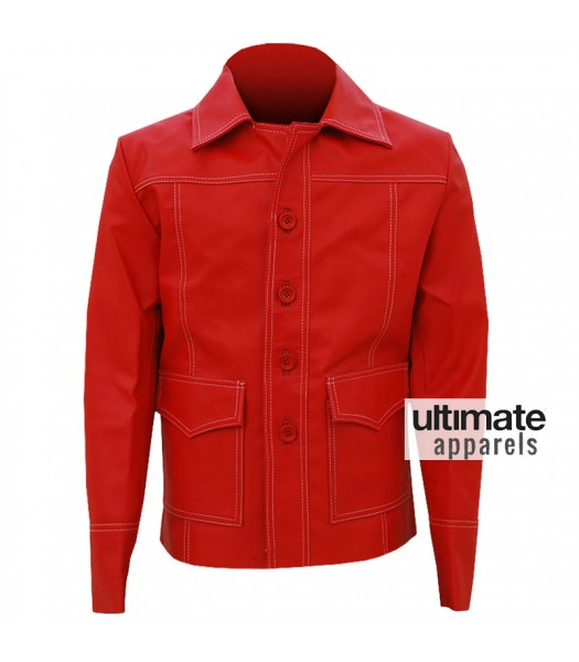 Fight Club Brad Pitt (Tyler Durden) Red Leather Coat