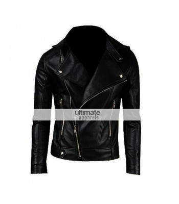 Slim Fitted Mens Faux/PU Black Leather Biker Jacket