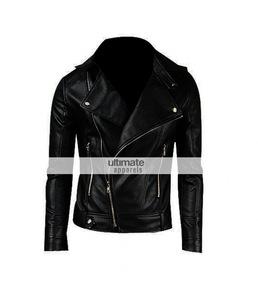 Slim Fitted Mens Faux/PU Black Leather Biker Jacket