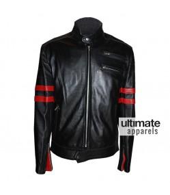 Hybrid Mayhem Fight Club Retro Red Stripe Motorcycle Black Jacket
