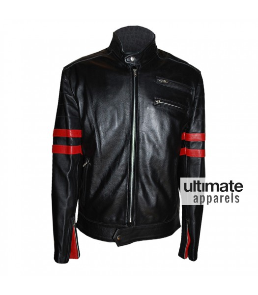 Hybrid Mayhem Fight Club Retro Red Stripe Motorcycle Black Jacket