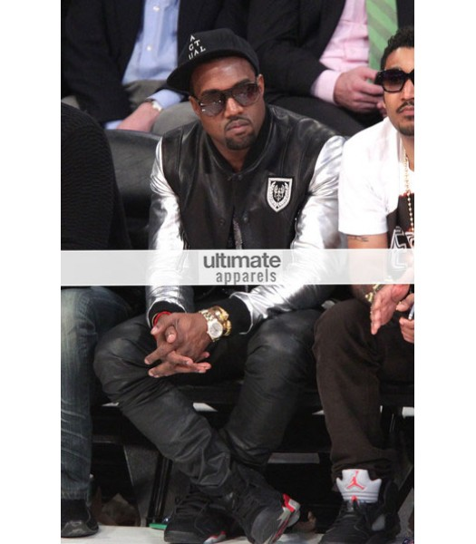 Kanye West Silver Sleeve Black Teddy Varsity Leather Jacket