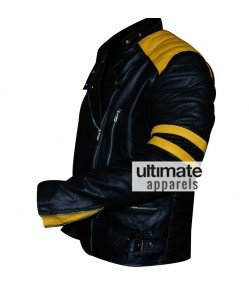 Men's Black Biker Leather Jacket With Yellow Stripes