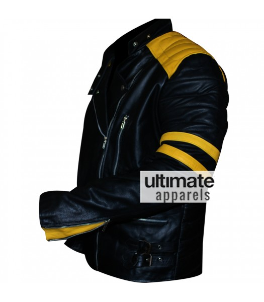 Men's Black Biker Leather Jacket With Yellow Stripes